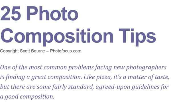 25 Photo Composition Tips from Peachtree School of Photography